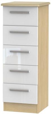Knightsbridge High Gloss White and Light Oak Chest of Drawer - 5 Drawer Locker