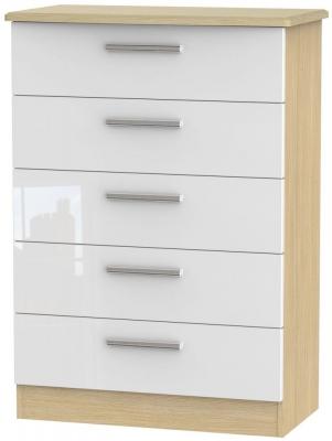 Knightsbridge High Gloss White and Light Oak Chest of Drawer - 5 Drawer