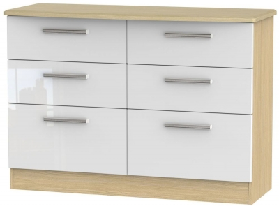 Knightsbridge 6 Drawer Midi Chest - High Gloss White and Light Oak