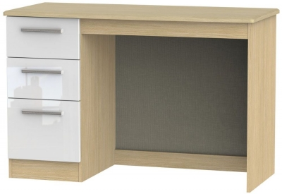 Knightsbridge Desk - High Gloss White and Light Oak