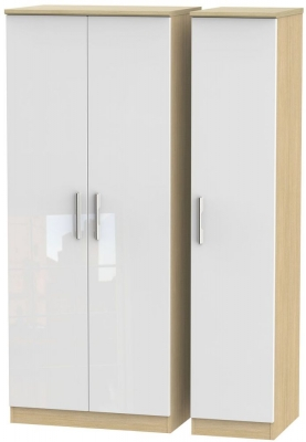 Knightsbridge 3 Door Wardrobe - High Gloss White and Light Oak