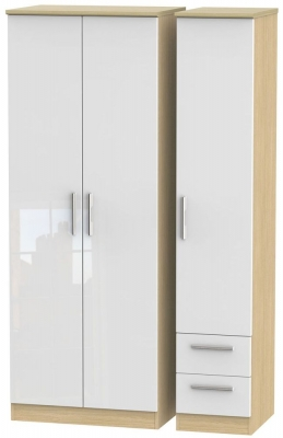 Knightsbridge High Gloss White and Light Oak 3 Door 2 Drawer Tall Plain Triple Wardrobe