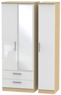 Knightsbridge High Gloss White and Light Oak 3 Door 2 Left Drawer Tall  Mirror Triple Wardrobe