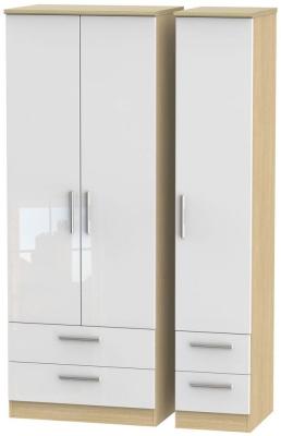 Knightsbridge 3 Door 4 Drawer Tall Wardrobe - High Gloss White and Light Oak