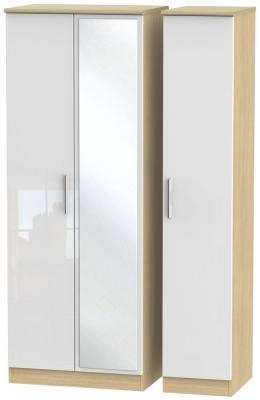 Knightsbridge 3 Door Tall Mirror Wardrobe - High Gloss White and Light Oak