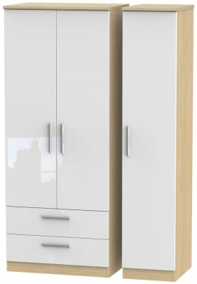 Knightsbridge 3 Door 2 Left Drawer Wardrobe - High Gloss White and Light Oak