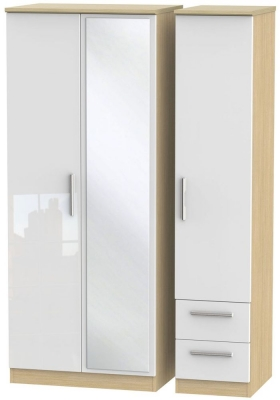 Knightsbridge 3 Door 2 Right Drawer Combi Wardrobe - High Gloss White and Light Oak