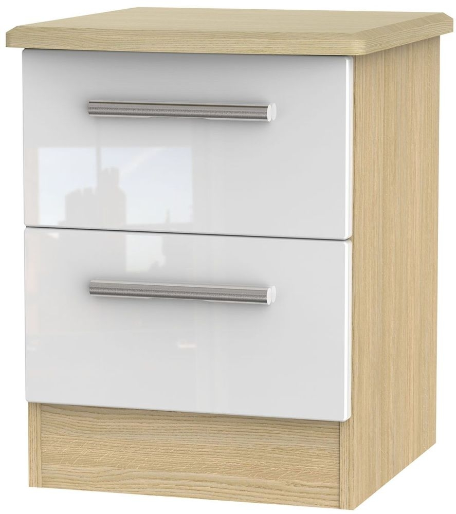 Knightsbridge High Gloss White and Light Oak Bedside Cabinet - 2 Drawer Locker