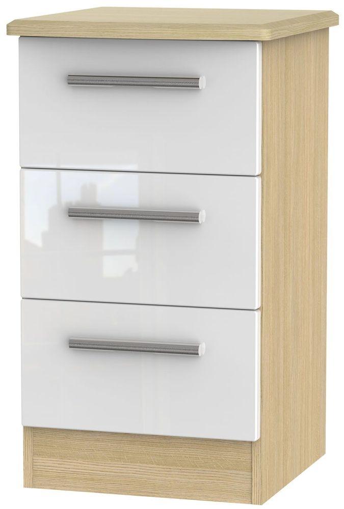 Knightsbridge High Gloss White and Light Oak Bedside Cabinet - 3 Drawer Locker