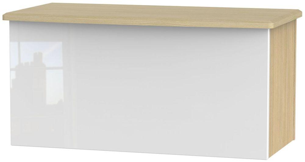 Knightsbridge High Gloss White and Light Oak Blanket Box