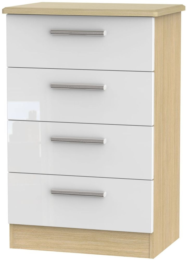 Knightsbridge High Gloss White and Light Oak Chest of Drawer - 4 Drawer Midi