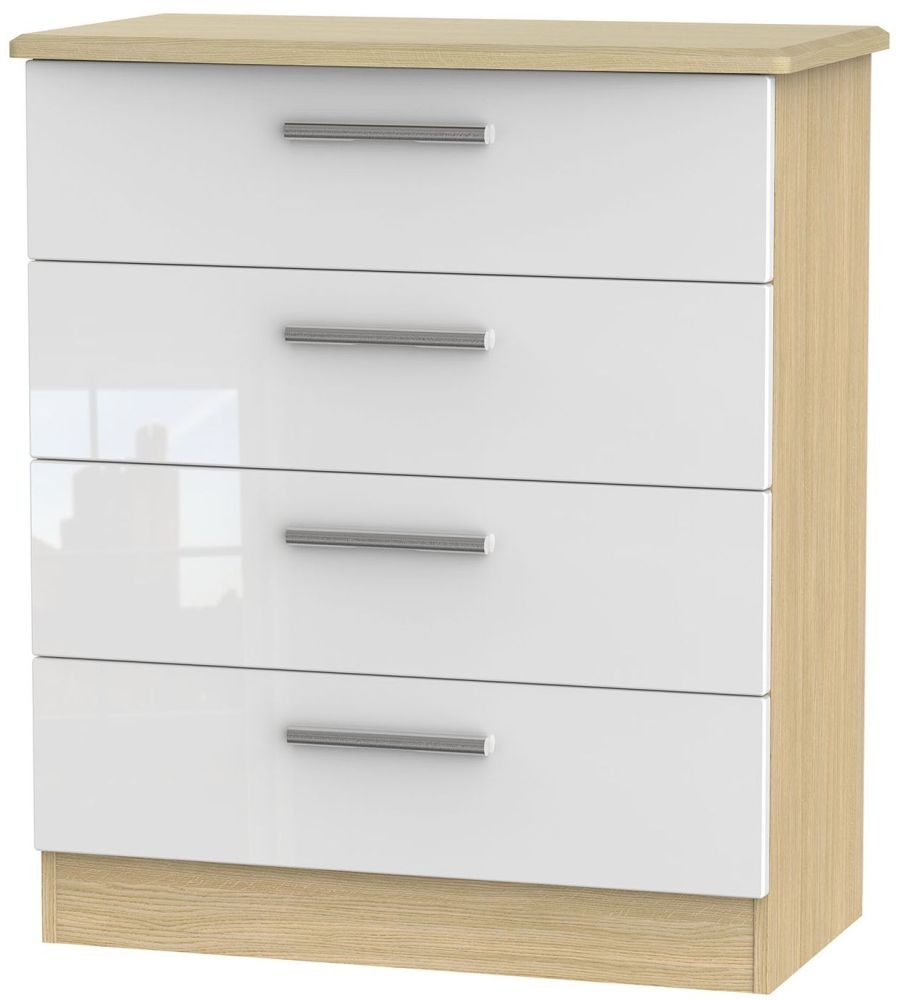 Knightsbridge High Gloss White and Light Oak Chest of Drawer - 4 Drawer