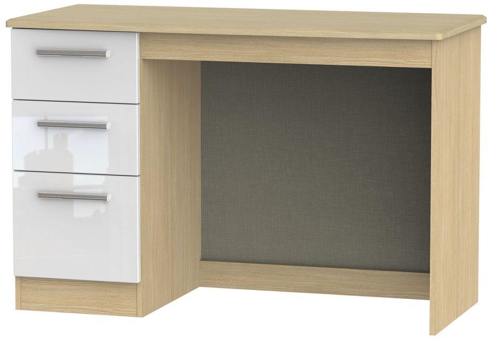 Knightsbridge High Gloss White and Light Oak Desk - 3 Drawer