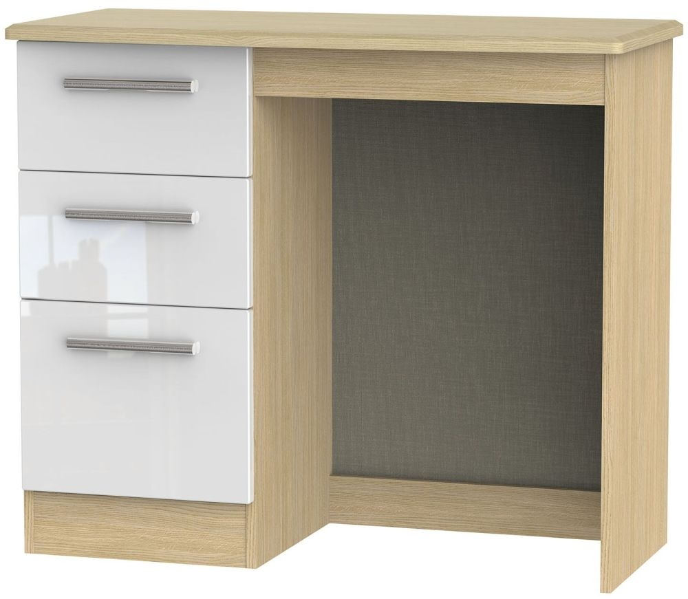Knightsbridge Single Pedestal Dressing Table High Gloss White And Light Oak Cfs Furniture Uk