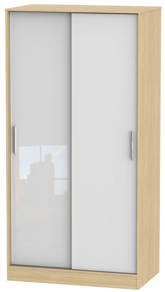 Knightsbridge High Gloss White and Light Oak Sliding Wardrobe - Wide