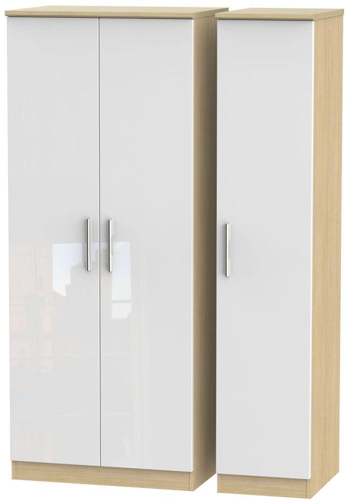 Knightsbridge High Gloss White and Light Oak Triple Plain Wardrobe
