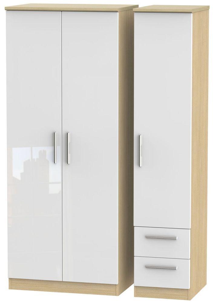 Knightsbridge High Gloss White and Light Oak 3 Door 2 Drawer Plain Triple Wardrobe