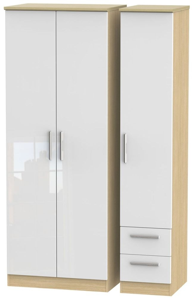 Knightsbridge High Gloss White and Light Oak Triple Wardrobe - Tall Plain with 2 Drawer