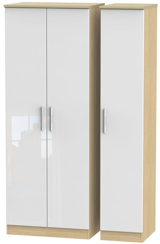 Knightsbridge High Gloss White and Light Oak Triple Wardrobe - Tall Plain