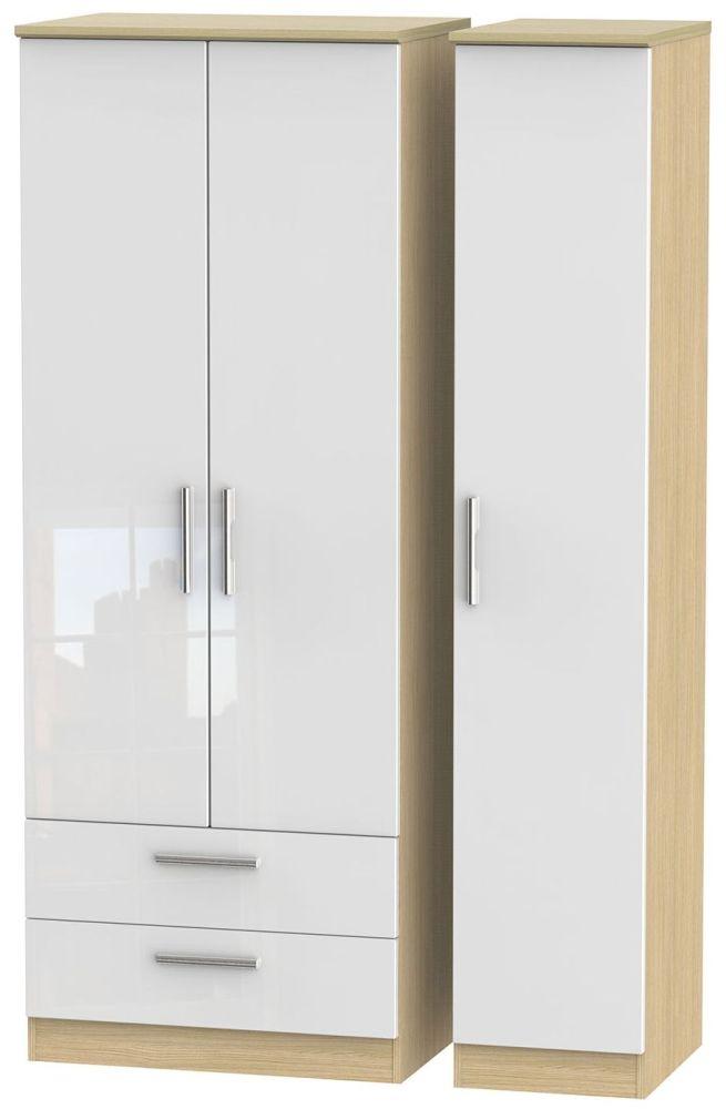 Knightsbridge High Gloss White and Light Oak Triple Wardrobe - Tall with 2 Drawer