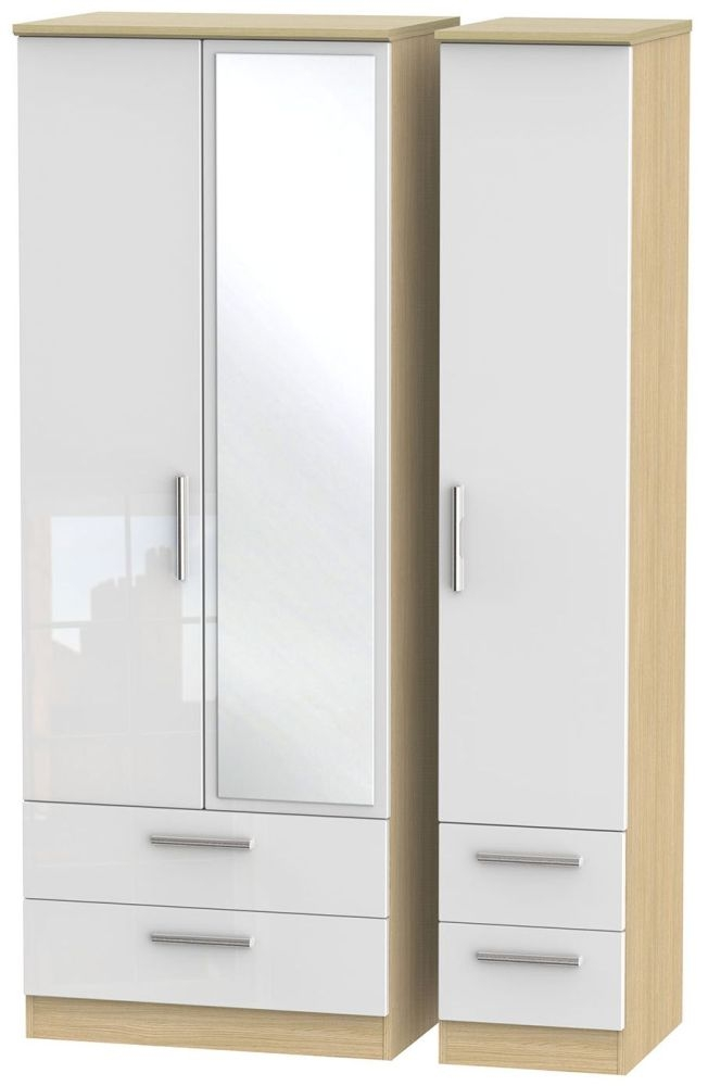 Knightsbridge High Gloss White and Light Oak 3 Door 4 Drawer Tall Mirror Triple Wardrobe