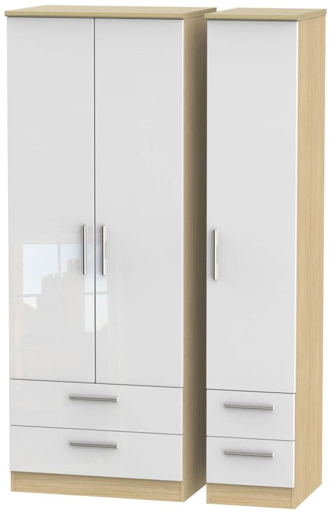 Knightsbridge High Gloss White and Light Oak Triple Wardrobe - Tall with Drawer