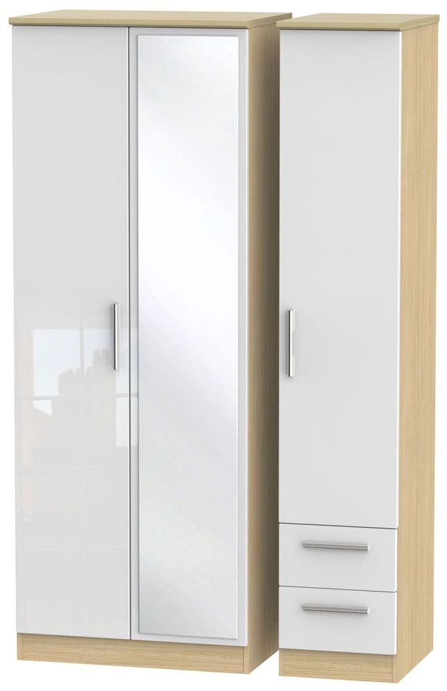 Knightsbridge High Gloss White and Light Oak Triple Wardrobe - Tall with Mirror and 2 Drawer