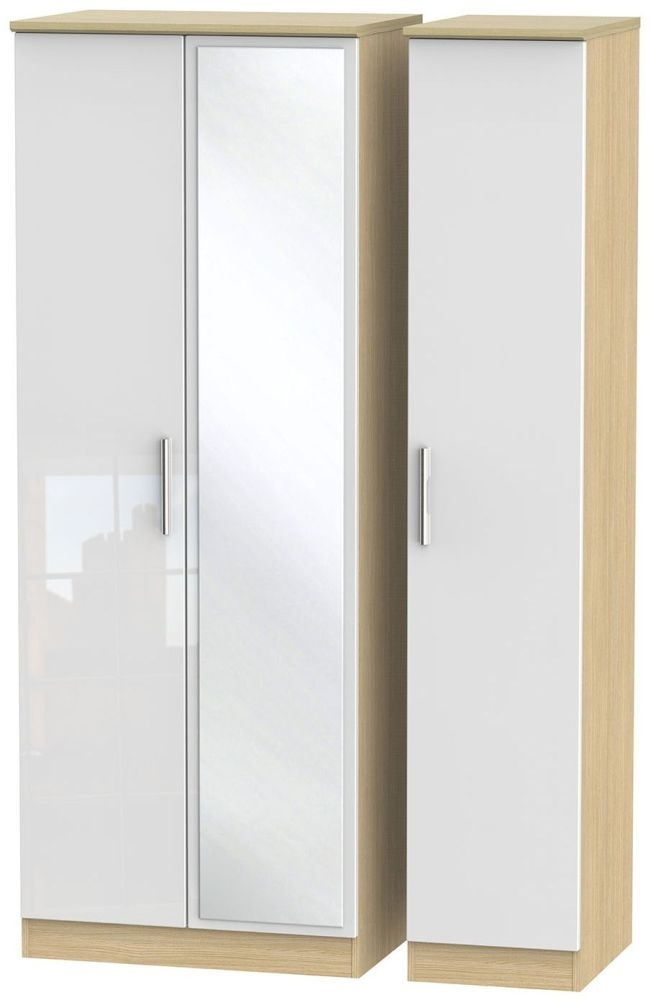 Knightsbridge High Gloss White and Light Oak Triple Wardrobe - Tall with Mirror