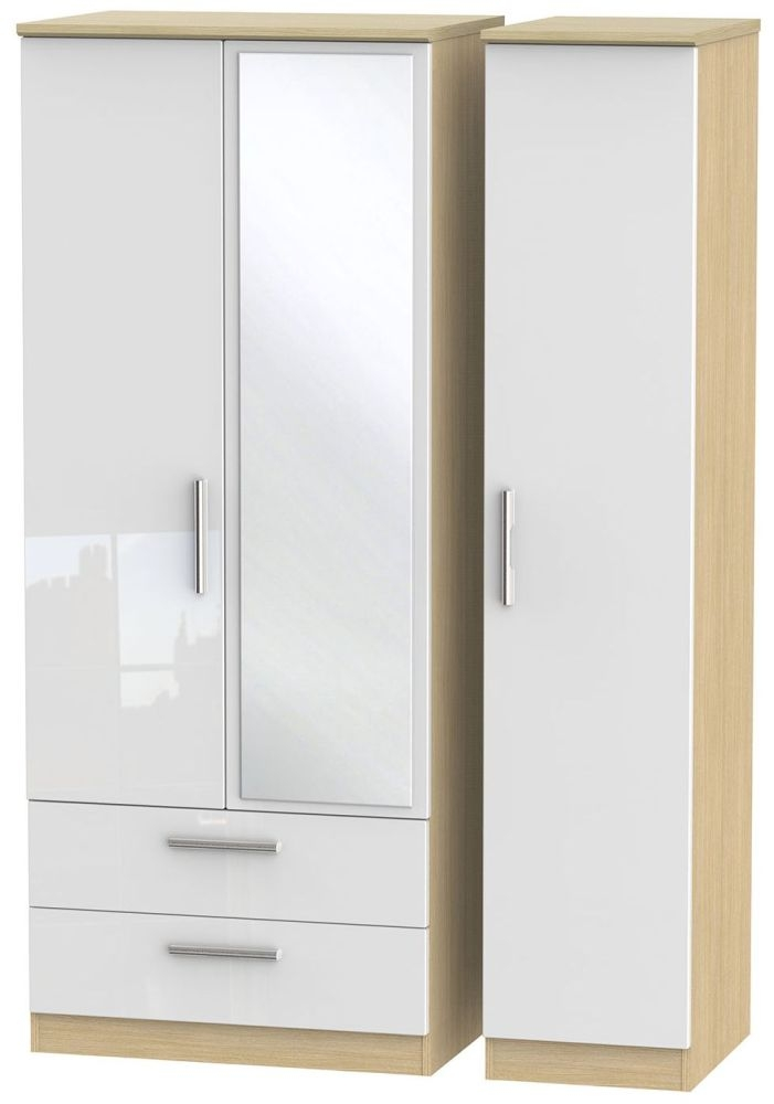 Knightsbridge High Gloss White and Light Oak Triple Wardrobe with 2 Drawer and Mirror