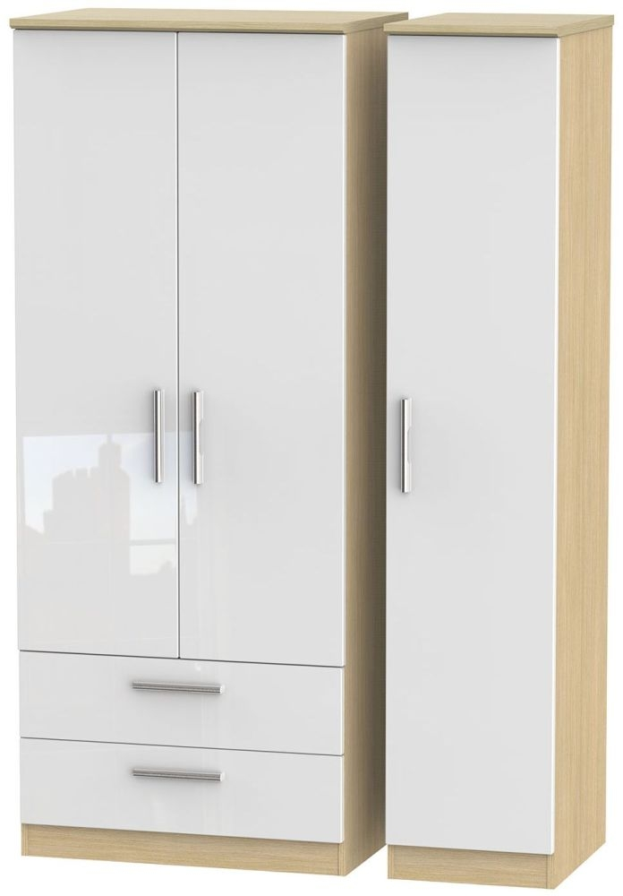 Knightsbridge High Gloss White and Light Oak Triple Wardrobe with 2 Drawer