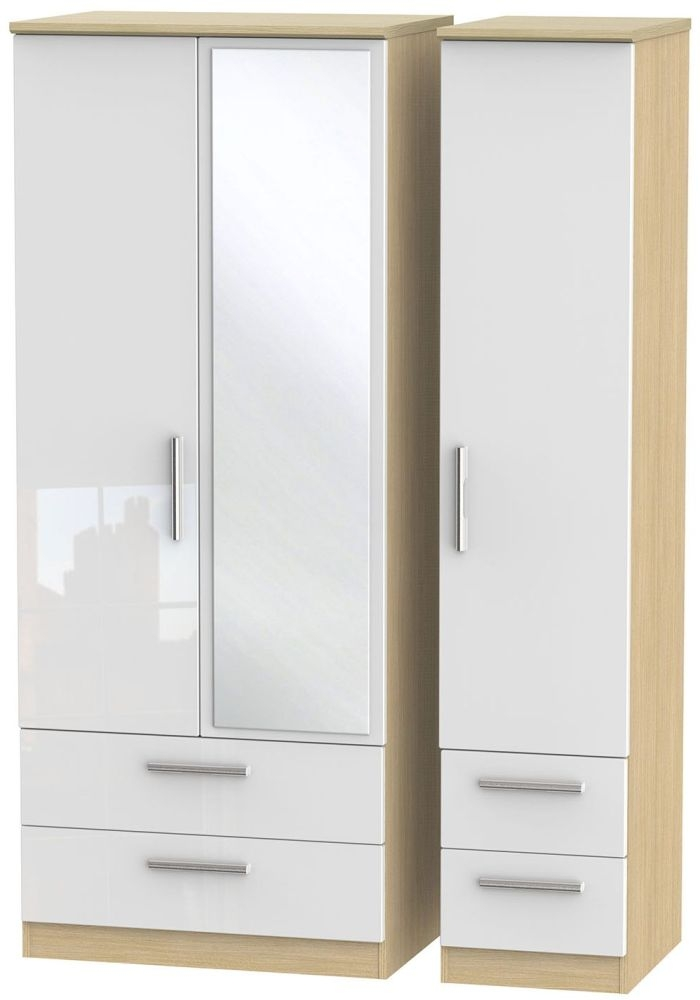 Knightsbridge High Gloss White and Light Oak Triple Wardrobe with Drawer and Mirror