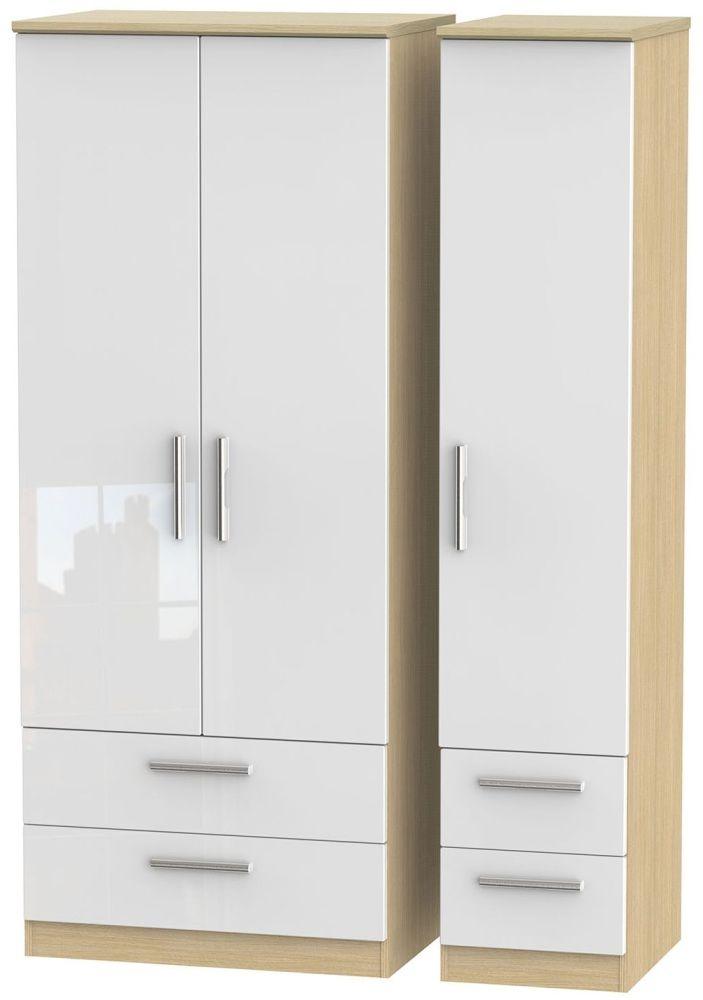 Knightsbridge High Gloss White and Light Oak Triple Wardrobe with Drawer