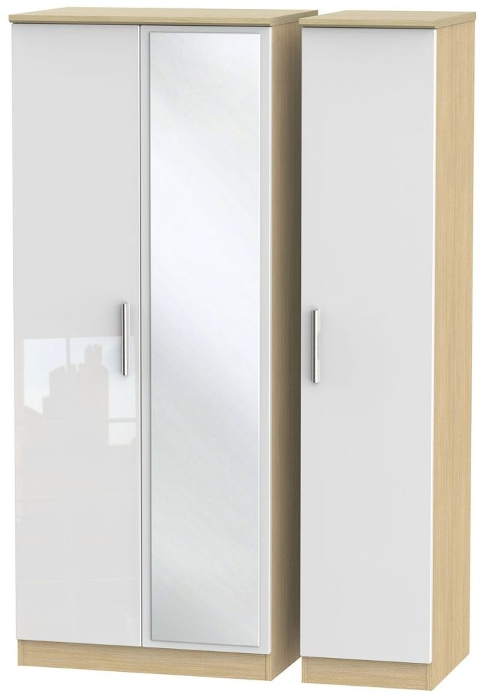 Knightsbridge High Gloss White and Light Oak Triple Wardrobe with Mirror