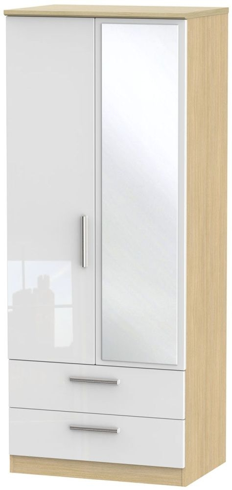 Knightsbridge High Gloss White and Light Oak Wardrobe - 2ft 6in with 2 Drawer and Mirror