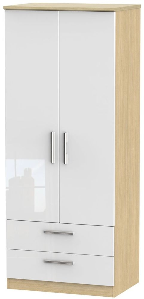 Knightsbridge High Gloss White and Light Oak Wardrobe - 2ft 6in with 2 Drawer