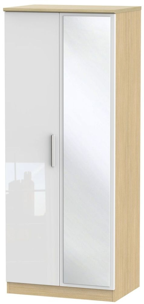 Knightsbridge High Gloss White and Light Oak Wardrobe - 2ft 6in with Mirror