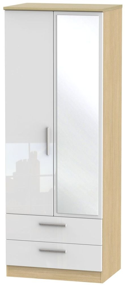 Knightsbridge High Gloss White and Light Oak Wardrobe - Tall 2ft 6in with 2 Drawer and Mirror