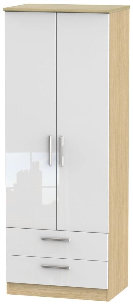 Knightsbridge High Gloss White and Light Oak Wardrobe - Tall 2ft 6in with 2 Drawer