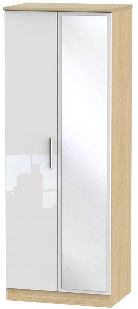 Knightsbridge High Gloss White and Light Oak Wardrobe - Tall 2ft 6in with Mirror