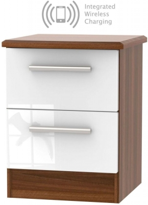 Knightsbridge 2 Drawer Bedside Cabinet with Integrated Wireless Charging - High Gloss White and Noche Walnut