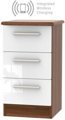 Knightsbridge 3 Drawer Bedside Cabinet with Integrated Wireless Charging - High Gloss White and Noche Walnut