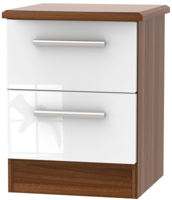 Knightsbridge 2 Drawer Bedside Cabinet - High Gloss White and Noche Walnut