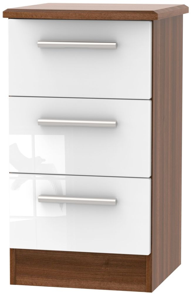 Knightsbridge 3 Drawer Bedside Cabinet - High Gloss White and Noche Walnut