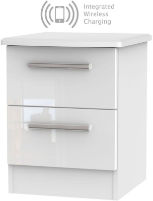Knightsbridge High Gloss White 2 Drawer Bedside Cabinet with Integrated Wireless Charging