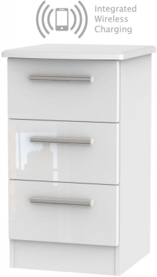 Knightsbridge High Gloss White 3 Drawer Bedside Cabinet with Integrated Wireless Charging