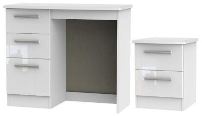 Knightsbridge White 2 Piece Bedroom Set with 2 Drawer Bedside