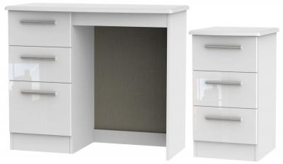 Knightsbridge White 2 Piece Bedroom Set with 3 Drawer Bedside
