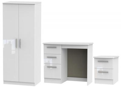 Knightsbridge White 3 Piece Bedroom Set with 2 Door Wardrobe