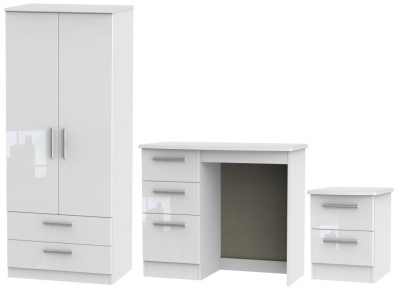 Knightsbridge White 3 Piece Bedroom Set with 2 Drawer Wardrobe