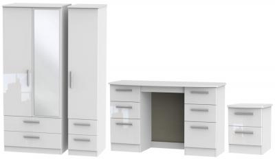 Knightsbridge White 3 Piece Bedroom Set with 3 Door Combi Wardrobe